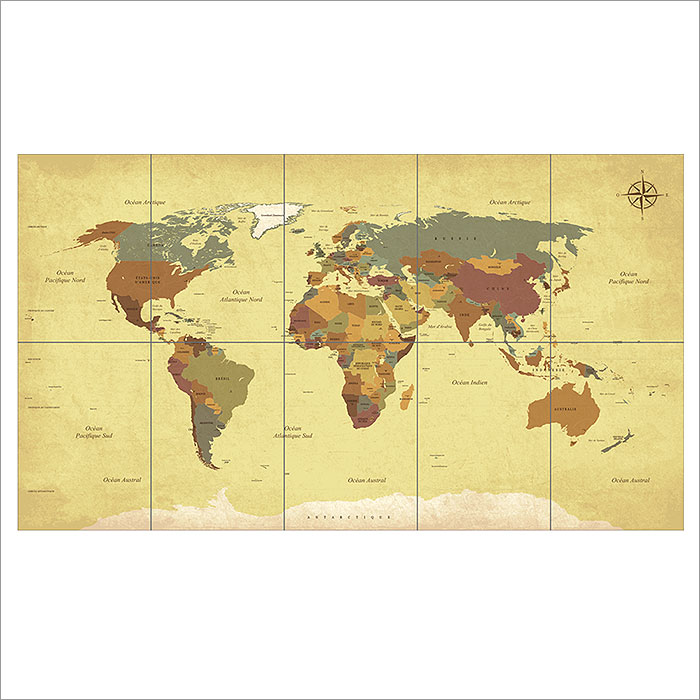 Vintage World Map Block Giant Wall Art Poster