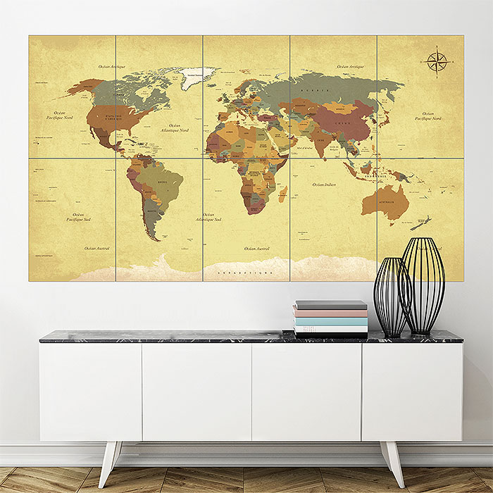 Vintage world map block giant wall art poster gumiabroncs Image collections