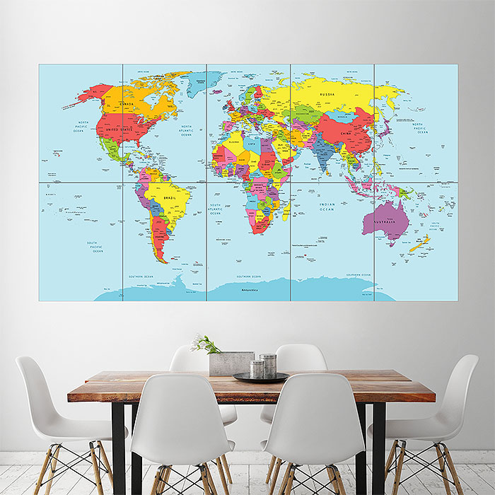 World Map Countries Wand-Kunstdruck Riesenposter