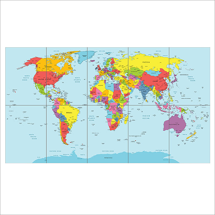 Map countries block giant wall art poster world map countries block giant wall art poster gumiabroncs Image collections