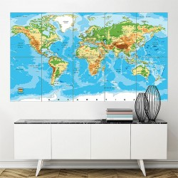 Relief Map of the World Block Giant Wall Art Poster (P-1824)
