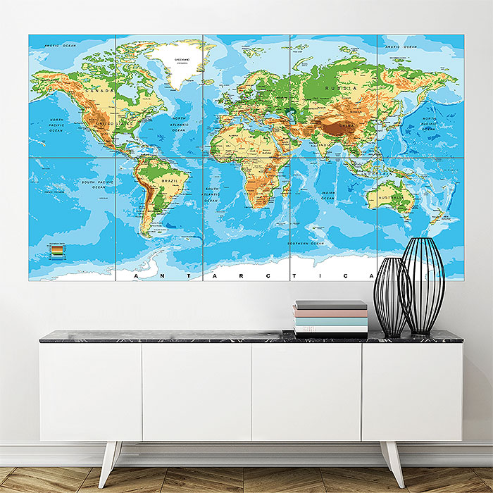 Relief Map of the World Block Giant Wall Art Poster