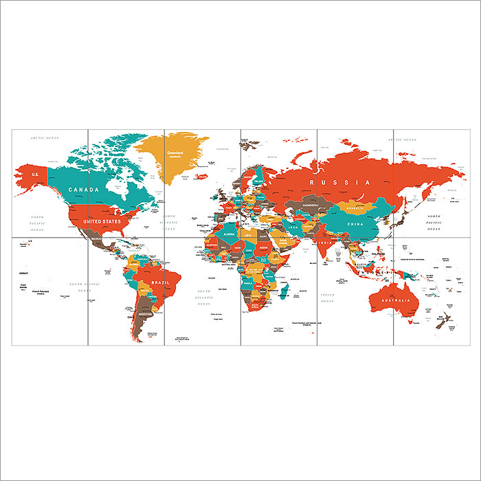 World Map Green Red Yellow Brown Block Giant Wall Art Poster