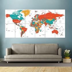 โปสเตอร์ ขนาดใหญ่ ภาพแผนที่โลก World Map Green Red Yellow Brown  (P-1825)