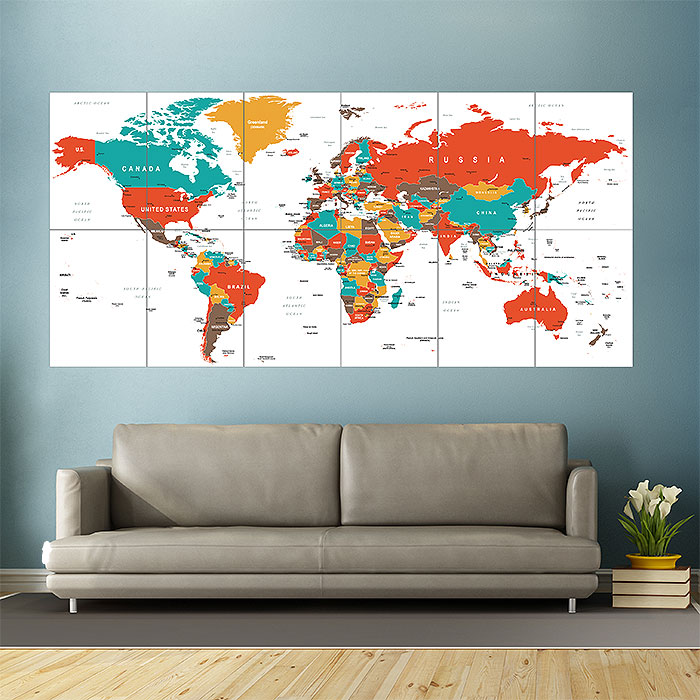 World map green red yellow brown block giant wall art poster gumiabroncs Choice Image