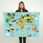 Animal World Map For Children And Kids Block Giant Wall Art Poster
