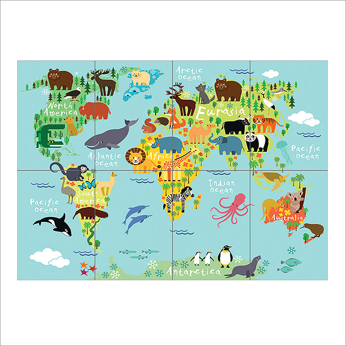 Animal world map for children and kids block giant wall art poster gumiabroncs Gallery
