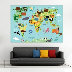 Animal World Map For Children And Kids Block Giant Wall Art Poster (P-1826)
