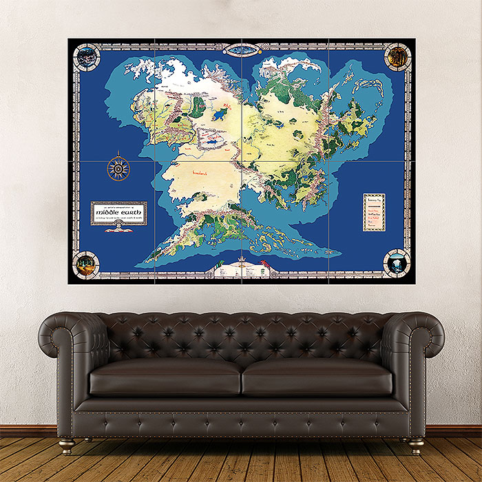 Map of Middle Earth Giant Wall Art Poster Giant Map Of The World Poster on giant globe maps, world map with countries poster, small world map poster, giant periodic table poster, extra large world map poster, high resolution world map poster, ikea world map poster,