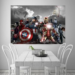 Captain America Civil War Block Wall Art Poster (P-1851)