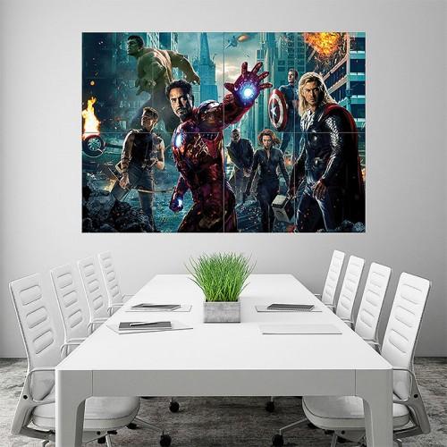 Avengers Superhero Characters Block Giant Wall Art Poster