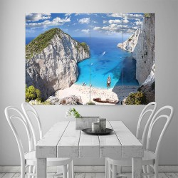 Zaykanthos Island Beach Greece Block Giant Wall Art Poster (P-1888)