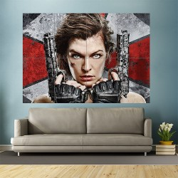 Resident Evil 6 Guns Milla Jovovich Movies Block Giant Wall Art Poster (P-1891)