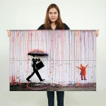 Banksy Color Raining Umbrella Block Giant Wall Art Poster