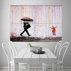 Banksy Color Raining Umbrella Block Giant Wall Art Poster (P-1919)
