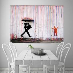 โปสเตอร์ ขนาดใหญ่ ภาพศิลปะ Banksy Color Raining Umbrella  (P-1919)