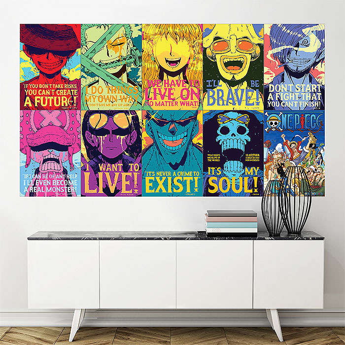 One Piece Anime Quotes Block Giant Wall Art Poster