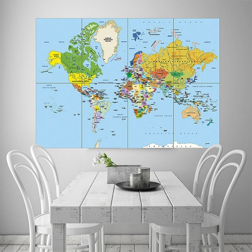 Map Of The World Block Giant Wall Art Poster