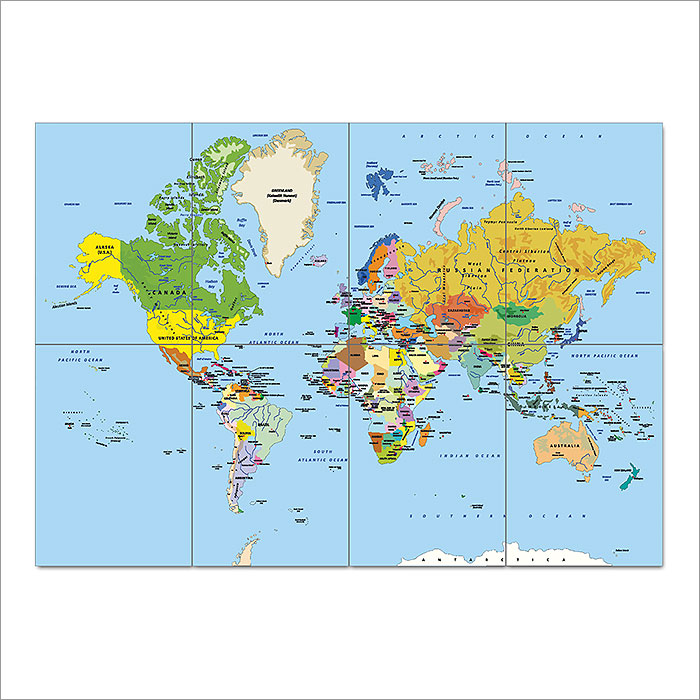 Map of the world block giant wall art poster gumiabroncs Choice Image