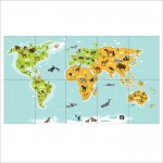 World Kids Map Block Giant Wall Art Poster