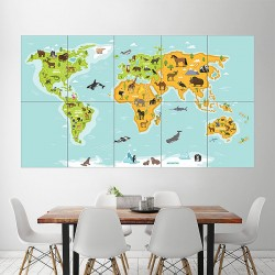 World Kids Map Block Giant Wall Art Poster (P-1970)