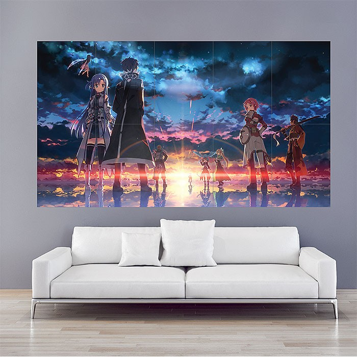 sword art online game block giant wall art poster. Black Bedroom Furniture Sets. Home Design Ideas