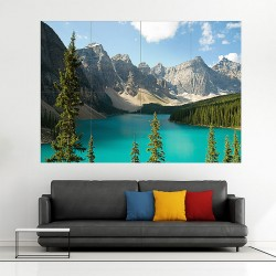 Alberta canada lake mountains Block Giant Wall Art Poster (P-2018)
