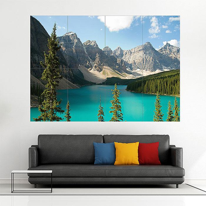 Alberta Canada Lake Mountains Block Giant Wall Art Poster