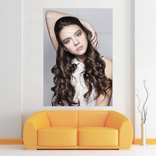 Curly Hair Woman Hairstyle Block Giant Wall Art Poster