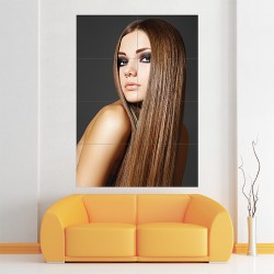 Long Brown Straight Woman Hairstyle Block Giant Wall Art Poster (P-2082)