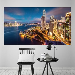 Hong Kong Harbour Night Lights Block Giant Wall Art Poster (P-2088)