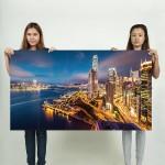 Hong Kong Harbour Night Lights Block Giant Wall Art Poster