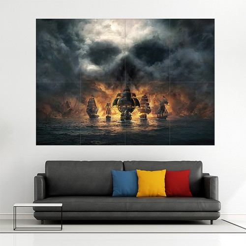Skull and Bones 2018 Video Game Block Giant Wall Art Poster