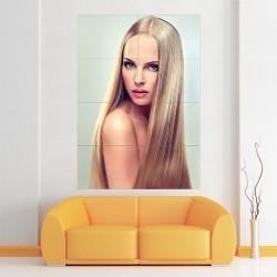 Long Straight Blonde Hair Long Beautiful Hair Block Giant Wall Art Poster (P-2133)