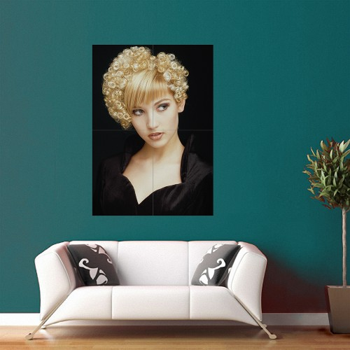 Blonde Very Short Permed Hairstyle Block Giant Wall Art Poster