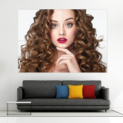 Beautiful Curly Hairstyle Block Giant Wall Art Poster (P-2140)