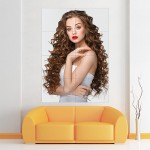 Beautiful Long Curly Hairstyle Block Giant Wall Art Poster