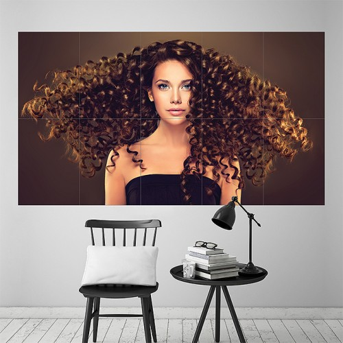 Beautiful Girl Curly Hairstyle Block Giant Wall Art Poster