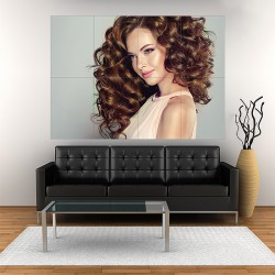 Beautiful Model Girl with Long Wavy Hairstyle Block Giant Wall Art Poster (P-2143)