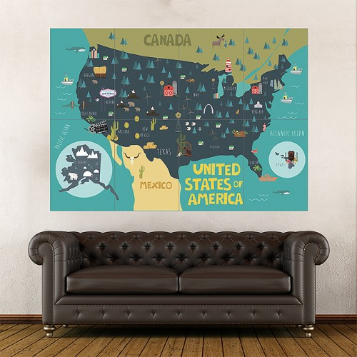 Kid Country Map United States of America Block Giant Wall Art Poster