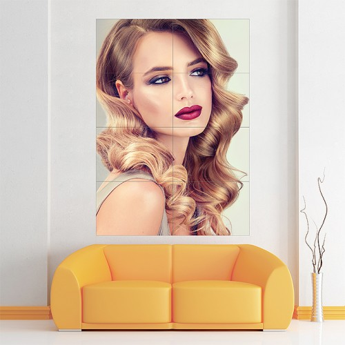 Blondel Girl with Long Wavy Hair Block Giant Wall Art Poster