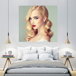 Beautiful Blonde Model Girl with Long Curly Hair Block Giant Wall Art Poster (P-2146)