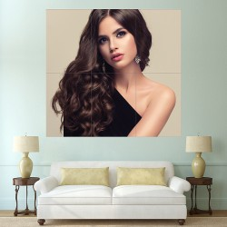 Beautiful Woman with Long Smooth Hair Block Giant Wall Art Poster (P-2147)