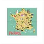 Kid Country Map France Block Poster  Block Giant Wall Art Poster