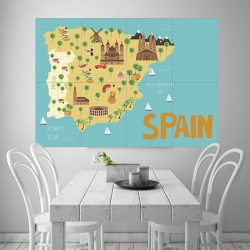 Kid Country Map Spain Block Giant Wall Art Poster (P-2149)