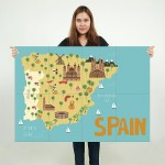 Kid Country Map Spain  Block Giant Wall Art Poster