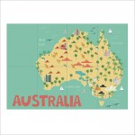Kid Country Map Australia Block Giant Wall Art Poster