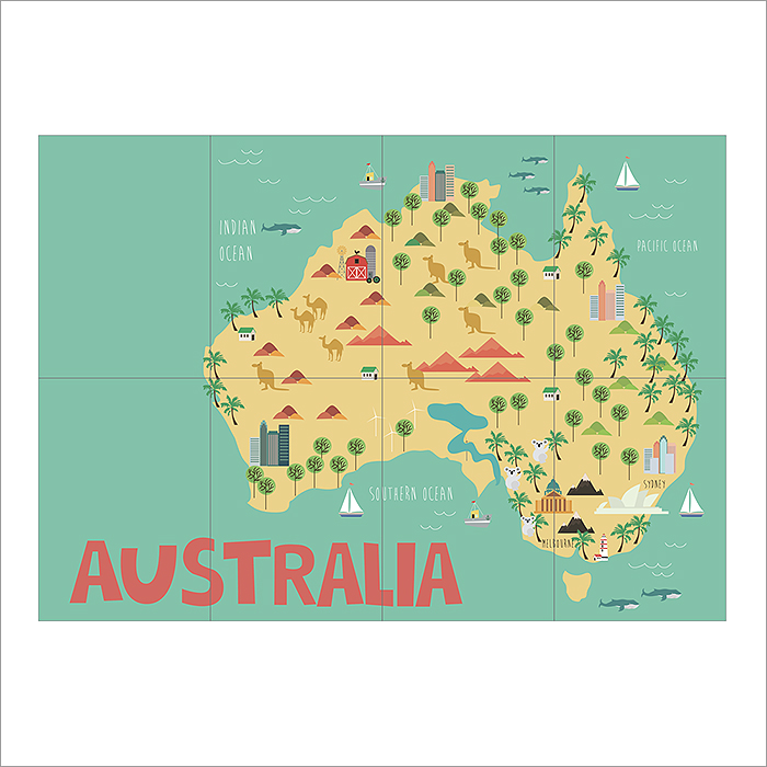 Kid Country Map Australia Block Giant Wall Art Poster