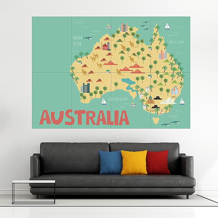 Giant Map Of Australia.Kid Country Map Australia Block Giant Wall Art Poster