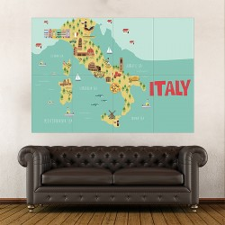 Kid Country Map Italy Block Giant Wall Art Poster (P-2151)
